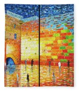 Western Wall Jerusalem Wailing Wall Acrylic Painting 2 Panels Fleece Blanket