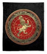Western Zodiac - Golden Leo - The Lion On Black Velvet Fleece Blanket