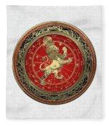 Western Zodiac - Golden Leo - The Lion On White Leather Fleece Blanket