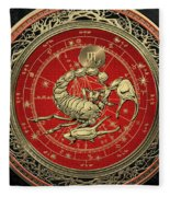 Western Zodiac - Golden Scorpio - The Scorpion On Black Velvet Fleece Blanket