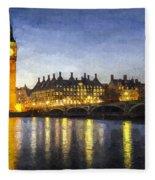 Westminster Bridge And Big Ben Art Fleece Blanket