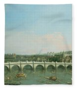 Westminster Bridge From The North With Lambeth Palace In Distance Fleece Blanket