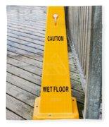 Wet Floor Warning Fleece Blanket
