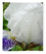 Wet Flower Raindrops Art Iris Flower Spring Baslee Troutman Fleece Blanket