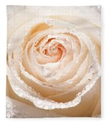Wet White Rose Fleece Blanket