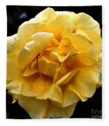 Wet Yellow Rose II Fleece Blanket