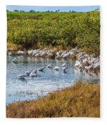Wetlands Watering Hole Fleece Blanket