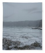 Weymouth Back River In A Snow Storm Fleece Blanket