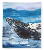 Whale Breaching Fleece Blanket