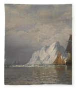 Whaler And Fishing Vessels Near The Coast Of Labrador Fleece Blanket