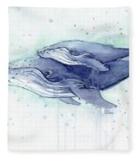 Whales Humpback Watercolor Mom And Baby Fleece Blanket