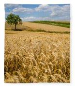 Wheat And A Tree Fleece Blanket