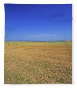 Wheat Field After Harvest Fleece Blanket