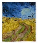 Wheat Field With Crows At Wheat Fields Van Gogh Series, By Vincent Van Gogh Fleece Blanket