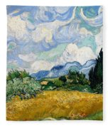 Wheatfield With Cypresses Fleece Blanket