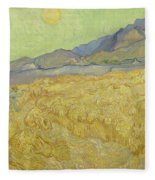 Wheat Field With Reaper At Wheat Fields Van Gogh Series, By Vincent Van Gogh Fleece Blanket