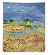Wheat Field With Stormy Sky Fleece Blanket