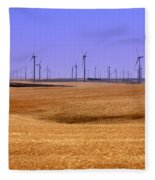 Wheat Fields And Wind Turbines Fleece Blanket
