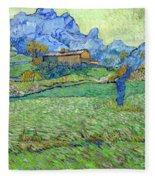 Wheat Fields In A Mountainous Landscape, By Vincent Van Gogh, 18 Fleece Blanket