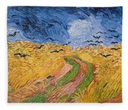 Wheatfield With Crows Fleece Blanket