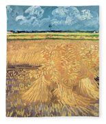Wheatfield With Sheaves Fleece Blanket