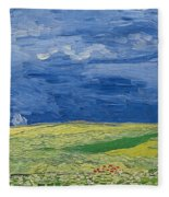 Wheatfields Under Thunderclouds Fleece Blanket