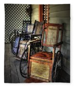 Wheelchairs Of Yesteryear By Kaye Menner Fleece Blanket