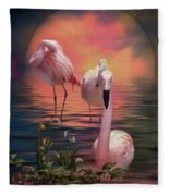 Where The Wild Flamingo Grow Fleece Blanket