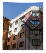 Whimsical Madrid - A Building Draped In Traditional Spanish Mantilla Fleece Blanket