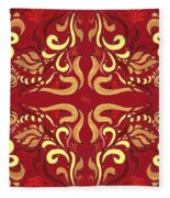 Whimsical Organic Pattern In Yellow And Red I Fleece Blanket