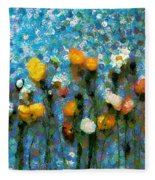 Whimsical Poppies On The Blue Wall Fleece Blanket