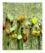 Whimsical Poppies On The Wall Fleece Blanket
