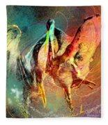 Whirled In Digital Rainbow Fleece Blanket