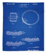 Whiskey Barrel Patent 1968 In Blue Print Fleece Blanket