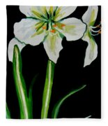 White Amaryllis Fleece Blanket