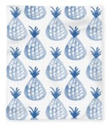 White And Blue Pineapple Party Fleece Blanket by Linda Woods
