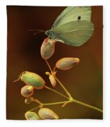 White And Green Butterfly On Dried Flowers Fleece Blanket