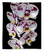 White And Magenta Orchids Fleece Blanket