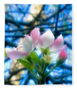 White And Pink Apple Blossoms Against A Blue Sky Fleece Blanket