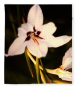 White And Purple Lily Fleece Blanket