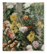 White And Yellow Chrysanthemums In The Garden At Petit Gennevilliers Fleece Blanket