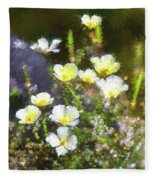 White And Yellow Poppies Abstract 2   Fleece Blanket