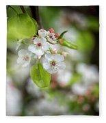 White Apple Flowers Fleece Blanket