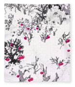 White As Snow With Cherries Fleece Blanket