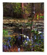 White Azaleas In The Swamp Fleece Blanket