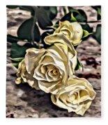 White Baby Roses Fleece Blanket