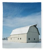 White Barn With Snow Fleece Blanket