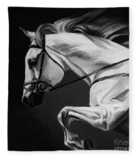 White Beautiful Horse B And W Fleece Blanket