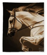 White Beautiful Horse  Fleece Blanket