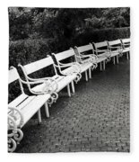 White Benches-  By Linda Wood Woods Fleece Blanket